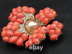 Vintage Boucher Brooch faux Pearl Coral And Rhinestone 1950s 6879