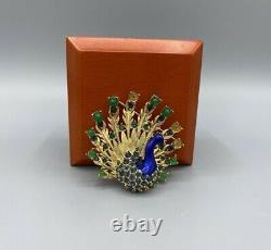 Vintage Boucher Enamel & Rhinestone Goldtone Gripoix Peacock Brooch Pin Read