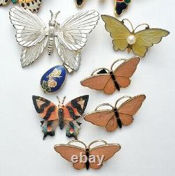 Vintage Butterfly Brooches Lot 16 Pieces Enamel Rhinestones Enamel Pins Monet
