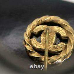 Vintage CHANEL Pin Brooch Coco Mark Gold Tone Metal Rhinestone Stamped France