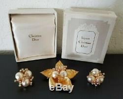 Vintage CHRISTIAN DIOR BIJOUX Germany RHINESTONE BROOCH & EARRINGS SET Mint +Box