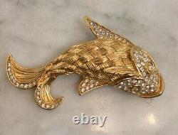 Vintage CHRISTIAN DIOR Gold Tone Rhinestone Koi Fish Pin Brooch