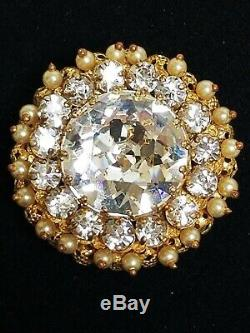 Vintage CHRISTIAN DIOR by KRAMER Rhinestone Crystal & Pearl Filigree Pin Brooch