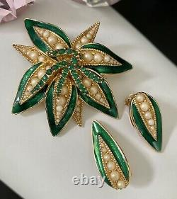 Vintage CINER Emerald Green Enamel Faux Pearl Rhinestone Flower Brooch Earrings