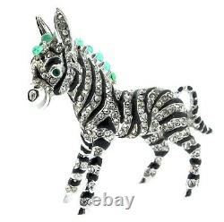 Vintage CINER Zebra Figural Rhinestone Emerald Cabochon Enamel Brooch Pin