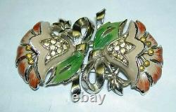 Vintage CORO Art Deco Gold Tone Enamel Rhinestone Flower Duette Pin Clip Brooch