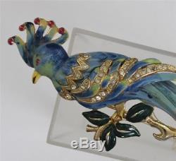 Vintage CORO Blue 1940's Enamel Rhinestone BIRD OF PARADISE Brooch FUR CLIP