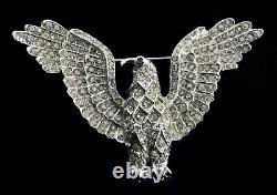 Vintage CORO Clear Rhinestone Eagle Bird Patriotic Figural Brooch Pin