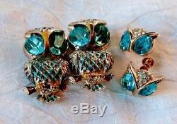 Vintage CORO Enamel & BLUE RHINESTONE Owl DUETTE Clip Brooch Screw-back EARRINGS