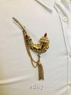 Vintage CORO Pegasus Pipe Jewel RHINESTONE Pin BROOCH Sold As Is