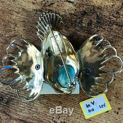 Vintage COROCRAFT STERLING Rhinestone Enamel Rock Fish Brooch EXQUISITE
