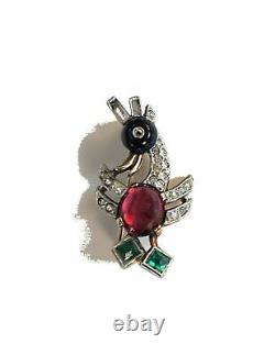 Vintage CROWN TRIFARI Alfred Philippe Ruby Jelly Belly Bird Brooch 1940s
