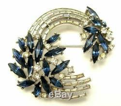 Vintage CROWN TRIFARI Blue Navette White Baguette Rhinestones Brooch Pin