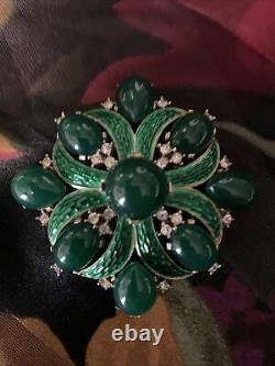 Vintage CROWN TRIFARI Brooch-Green Cabochon, Enamel-Rhinestone, LOrient