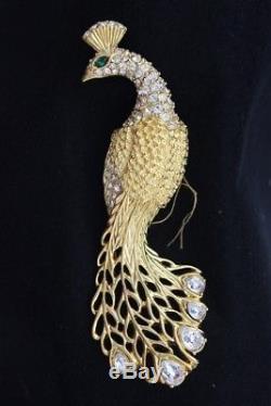 Vintage CROWN TRIFARI Crystal Rhinestones GOLDEN PHEASANT PEACOCK Brooch Jewelry