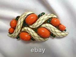 Vintage CROWN TRIFARI L'ORIENT Faux Coral & Emerald Enamel Brooch