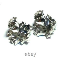 Vintage CROWN TRIFARI Pink SHOE BUTTON Brooch Earrings Set AB Rhinestone GLASS