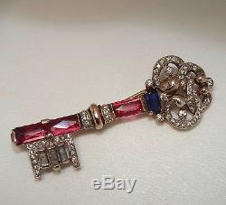 Vintage CROWN TRIFARI Sterling Vermeil Rhinestone Key Brooch, 1940s Figural