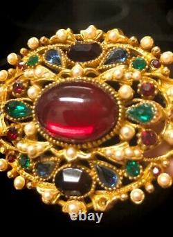 Vintage Capri Gripoix, Rhinestones, Faux Pearl Filigree Jewels Of India Brooch