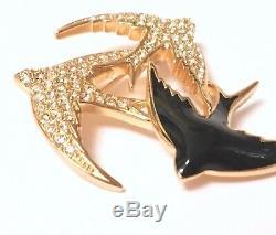 Vintage Christian Dior 3 Bird Gold Tone Rhinestone Enamel Pin Brooch