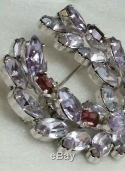Vintage Christian Dior By Kramer Lilac Amethyst Rhinestone Wreath Pin Brooch