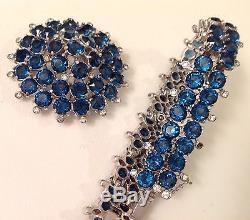 Vintage Christian Dior By Mitchel Maer Brooch Bracelet Set Sapphire Rhinestones