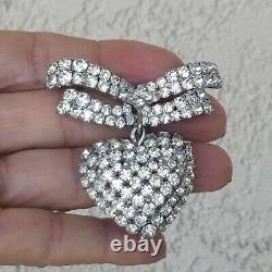 Vintage Christian Dior Germany Rhodium Plate Rhinestone HEART Brooch