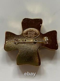 Vintage Christian Lacroix Cross Brooch Pin Signed