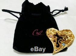 Vintage Christian Lacroix Heart Brooch Multicolor Rhinestone