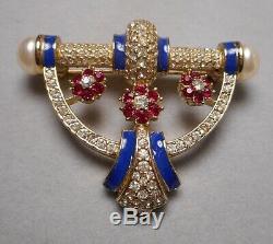 Vintage Ciner Art Deco Jeweled Rhinestone Pin Brooch with Faux Pearls & Enamel