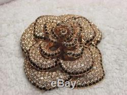 Vintage Ciner Signed Pave Black Clear Rhinestone Large Flower Gold Tone Brooch