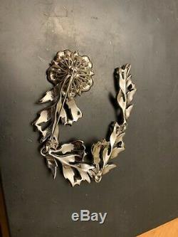 Vintage Clear Rhinestone Flower Brooch Pin Clip 7 Figural 1940s Sparkling