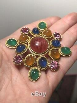 Vintage Colorful WEISS Gripoix Poured Glass Rhinestone Maltese Cross Brooch Pin