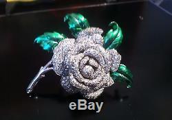 Vintage Confirmed Dujay Rhinestone Enamel Flower Floral Rose Pin Brooch