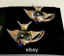Vintage Coro 1944 Jelly Belly Duette Brooch Sterling Angel Fur Clips