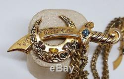 Vintage Coro Adolph Katz Chatelaine Sword Crescent Dagger Rhinestone Pin Brooch