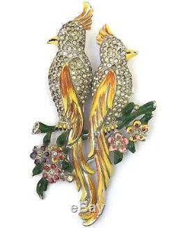 Vintage Coro Bird Duette Brooch Fur Clip Enamel Rhinestone Designer Jewelry