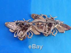 Vintage Coro Craft Duette Sterling Gold Wash Double Bee Pin Brooch Duette