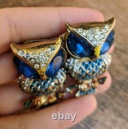 Vintage Coro Craft Rhinestone Enamel Owl Duette Pair Fur Clip Pin Brooch Read