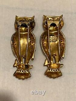 Vintage Coro Craft Sterling Horned Owl Duette Enamel Furclip Vermeil Brooch Pin