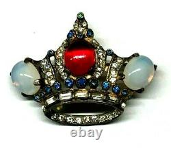 Vintage Coro Craft Sterling Jeweled Crown Pin Book Piece