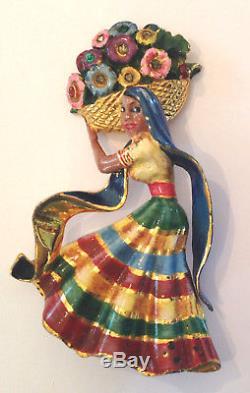 Vintage Coro Craft Sterling Mexican Flowergirl Brooch Pin Enamel Rhinestone 215
