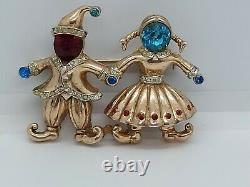 Vintage Coro Craft Sterling Rhinestone Dutch Boy & Girl Duette Brooch Pin Clip