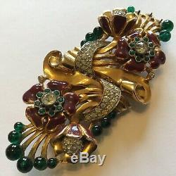 Vintage Coro Duette Enameled & Clear Rhinestones Flower Dress Clip Brooch Z3
