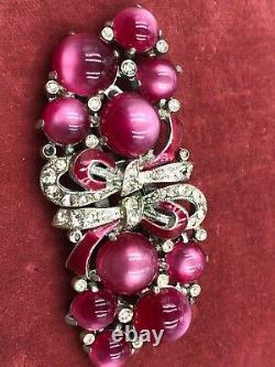 Vintage Coro Duette Fabulous Hot Pink Moonglow Flower Bouquet 2 Fur Clips Brooch