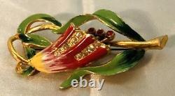 Vintage Coro Enameled Figural Bell Flower Trembler Stamens Rhinestone Brooch