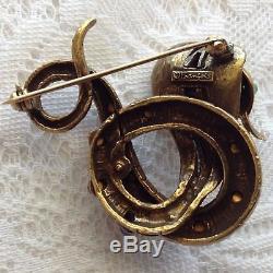 Vintage Coro Francois Signed Very Rare Snake Jeweled Rhinestone Brooch