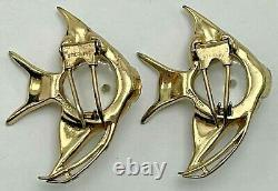Vintage Coro Jelly Belly Duette Brooch Sterling Angel Fish Fur Clips Gold Washed