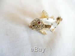 Vintage Coro Jelly Belly Rhinestone Fish Trout Brooch Pin