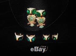 Vintage Coro Pegasus Coro Craft Duette Owls Fur Pins/Brooch Combo/Earrings (2)